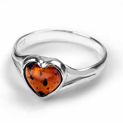 Amber Heart Ring