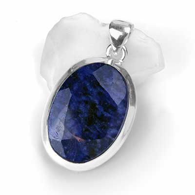 Silver and Faceted Lapis Lazuli Pendant