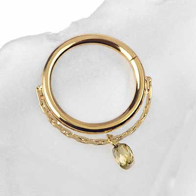 Gold Briolette Seamless Ring with Diamond