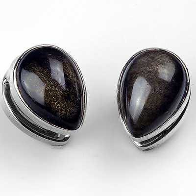 Solid White Brass Mini Spade Weights with Golden Obsidian