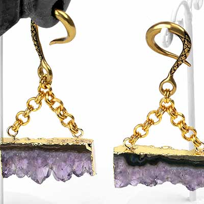 Solid Brass and Amethyst Stalactite Slice Weights