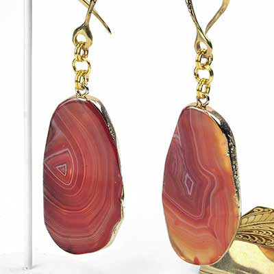 Brass and Red Dyed Agate Slice Weights