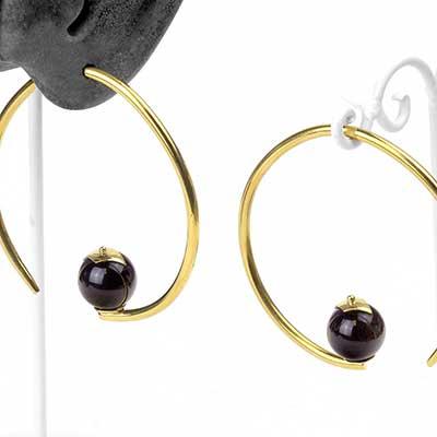 Brass Tear Dew Drop Design with Golden Obsidian