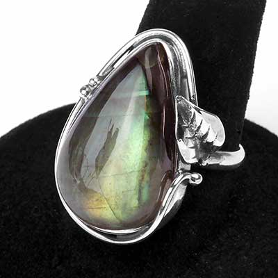 Silver Ornate Labradorite Teardrop Ring