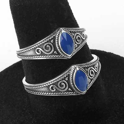 Silver and Marquise Lapis Ring