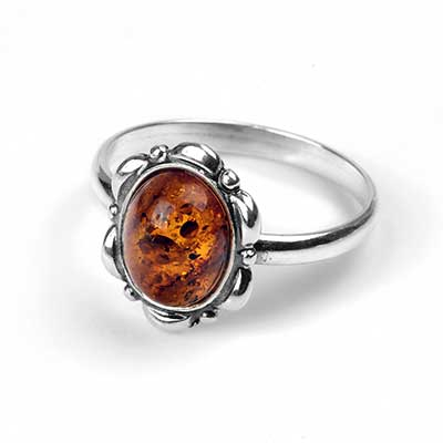 Silver and Amber Floral Ring