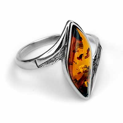Silver and Amber Wave Ring