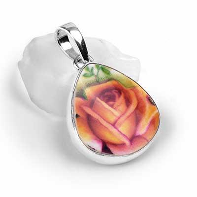 Ceramic Rose Teardrop Pendant