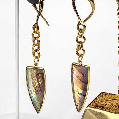Solid Brass Labradorite Spike Weights