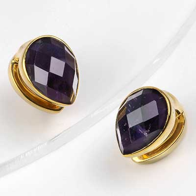 Solid Brass Mini Spade Weights with Faceted Amethyst