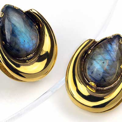 Brass Saddles with Labradorite