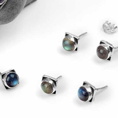 Square Labradorite Stud Earrings