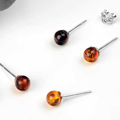 Round Amber Stud Earrings