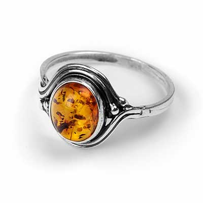 Silver Swirl Amber Ring