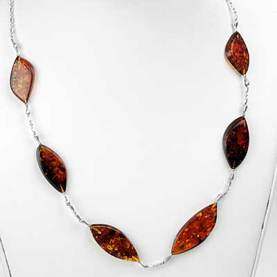 Silver and Baltic Amber Drop Necklace