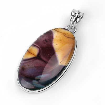 Silver and Mookaite Oval Pendant