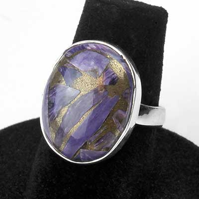 Silver and Copper Charoite Ring