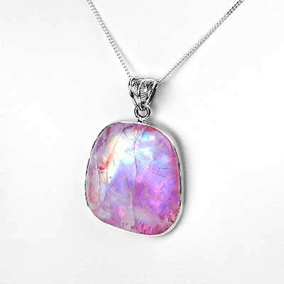 Pink Rainbow Moonstone Necklace