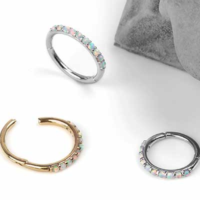 14k Gold Side Set Opal Clicker