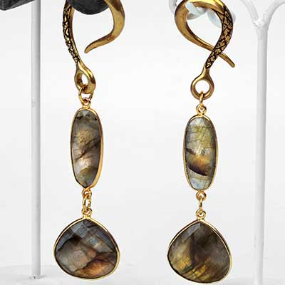 Solid Brass Labradorite Dual Drop Weights