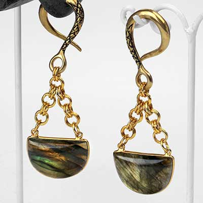 Solid Brass with Half Moon Labradorite Weights