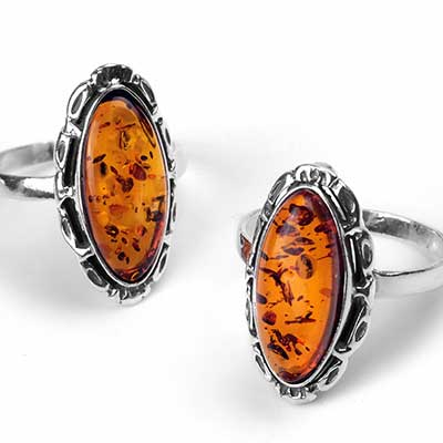 Floral Marquise Amber Ring