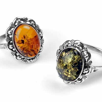 Beaded Frame Amber Ring