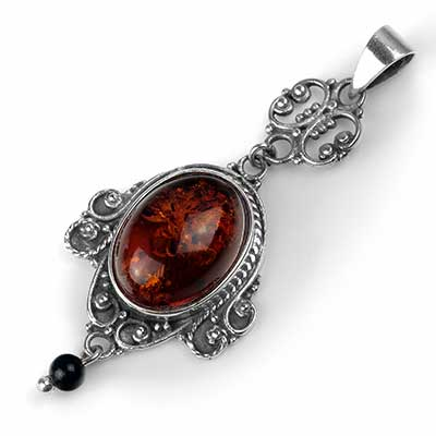 Decadent Silver and Amber Pendant