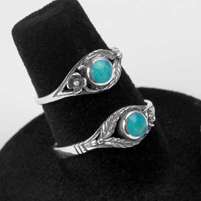 Silver and Turquoise Blooming Ring