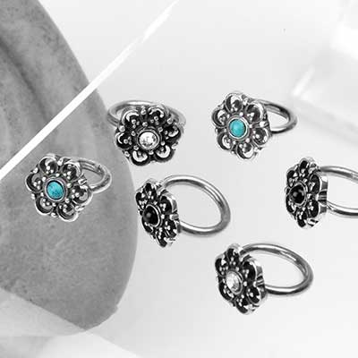 Silver Side Set Floral Seamless Ring