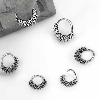 Silver Beaded Lace Seamless Ring