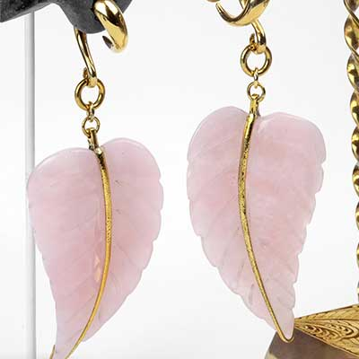 Solid Brass and Rose Quartz Leaf Weights