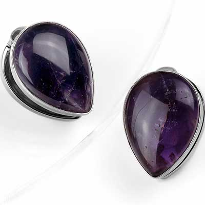 Solid White Brass Spade Weights with Amethyst