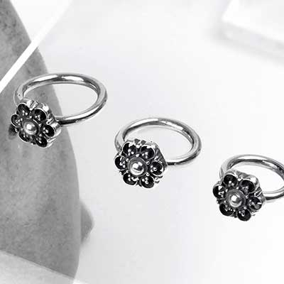 Silver Side Set Beaded Flower Seamless Ring
