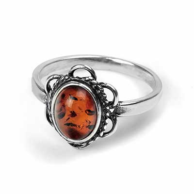 Braided Petal Amber Ring