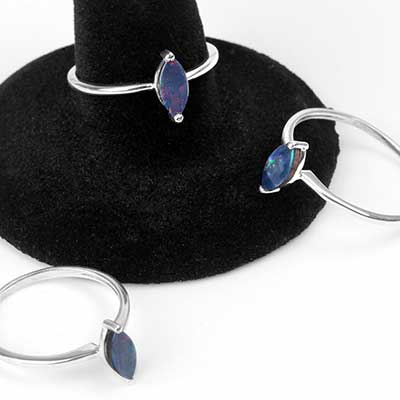 Silver and Marquise Dark Blue Opal Ring