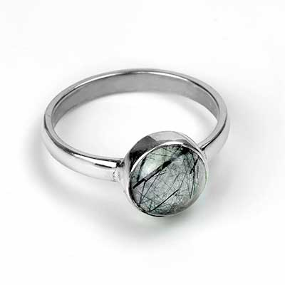 Silver and Green Round Rutilated Quartz Ring