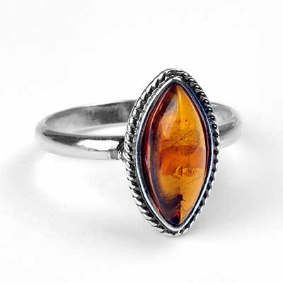 Silver and Amber Marquise Ring