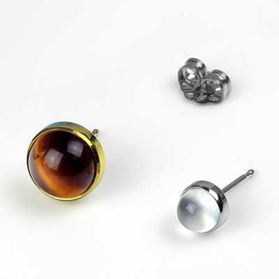Titanium Bezel Set Earrings
