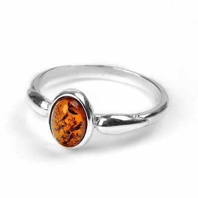Dainty Oval Amber Ring
