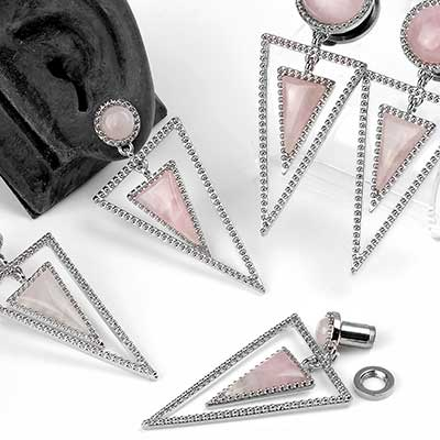 Rose Quartz Triad Dangle Plugs
