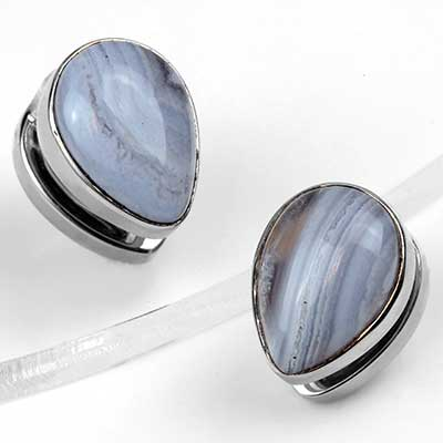 Solid White Brass Mini Spade Weights with Blue Lace Agate