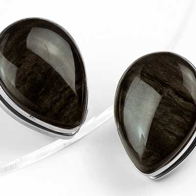 Solid White Brass Spade Weights with Golden Obsidian