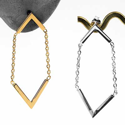 Dual Chevron Dangle Earrings