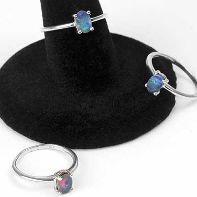 Silver and Oval Dark Blue Opal Ring