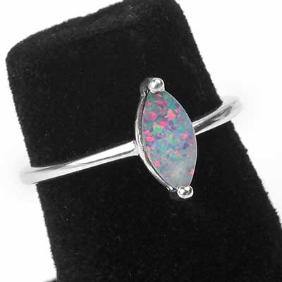 Silver and Marquise Light Blue Opal Ring