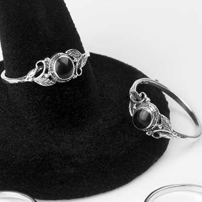 Floral Black Onyx Ring