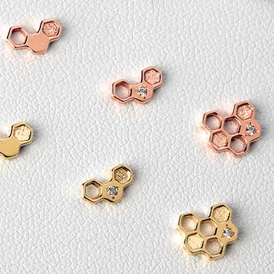 14K Gold Honeycomb Threadless End