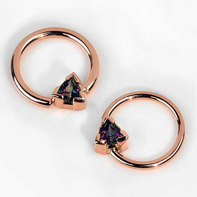 14k Rose Gold and Rainbow Topaz Fixed Bead Ring