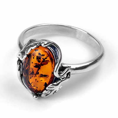 Sterling Silver Elysian Amber Ring